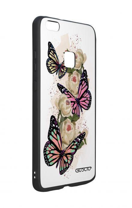 Cover Bicomponente Huawei P10Lite - Farfalle su bianco