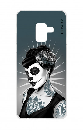 Cover TPU Samsung A8 A5 2018 - Calavera bianco e nero
