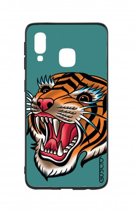 Samsung A40 WHT Two-Component Cover - Tiger Tattoo on teal
