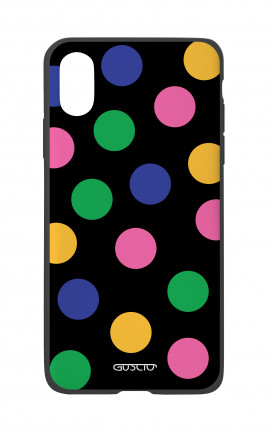 Apple iPhone X White Two-Component Cover - Pink & Blue Polka dot