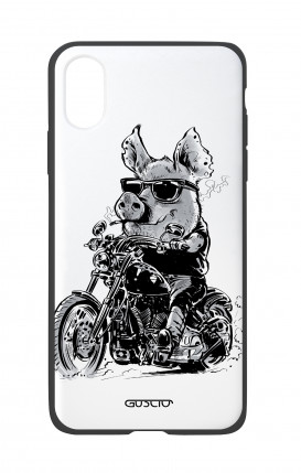 Apple iPhone X White Two-Component Cover - Biker Pig