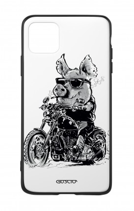 Apple iPh11 PRO MAX WHT Two-Component Cover - Biker Pig