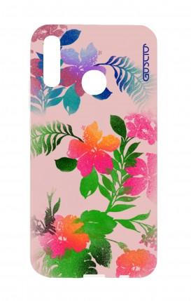 Cover Huawei P20Lite - Fiori fondo rosa
