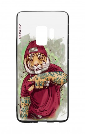Cover Bicomponente Samsung S9 - Tigre Hip Hop bianco
