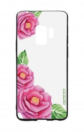 Cover Bicomponente Samsung S9 - Peonie trasparenti