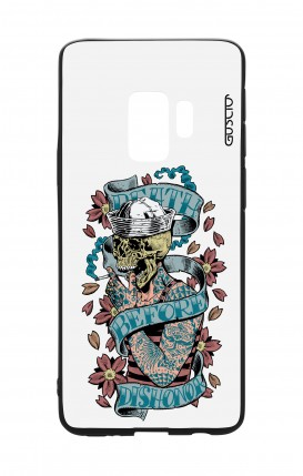 Cover Bicomponente Samsung S9 - Death before dishonor bianco