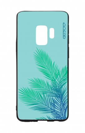 Cover Bicomponente Samsung S9 - Foglie azzurre