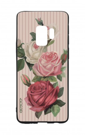 Samsung S9 WHT Two-Component Cover - Roses and stripes