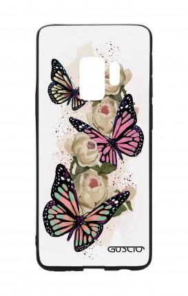 Cover Bicomponente Samsung S9 - Farfalle su bianco