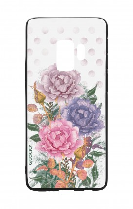 Cover Bicomponente Samsung S9Plus - Bouquet e pois bianco
