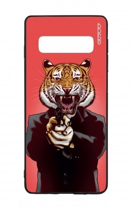 Samsung S10 WHT Two-Component Cover - Tiger with Gun