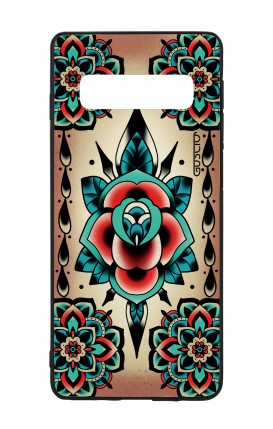 Samsung S10 WHT Two-Component Cover - Old School Tattoo Rose