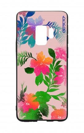 Cover Bicomponente Samsung S9Plus - Fiori fondo rosa
