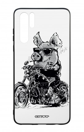 Huawei P30PRO WHT Two-Component Cover - Biker Pig