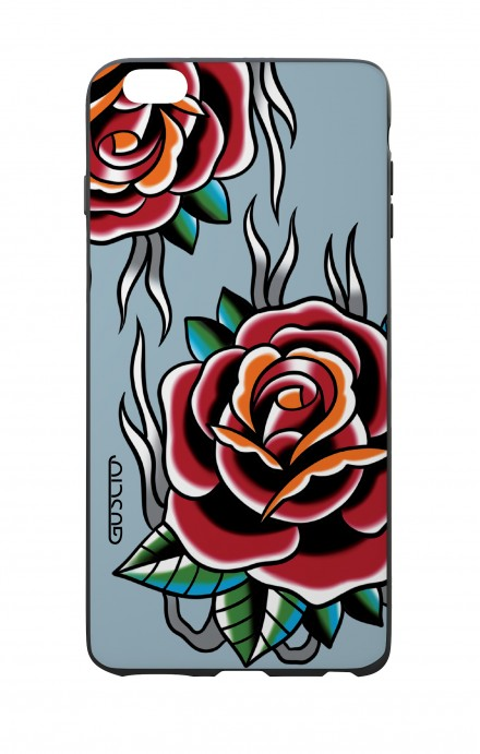 Apple iPhone 6 WHT Two-Component Cover - Roses tattoo on light blue