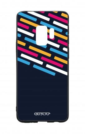 Cover Bicomponente Samsung S9Plus - Righe su fondo Blu
