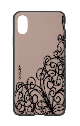 Apple iPh XS MAX WHT Two-Component Cover - Lace Chocolate