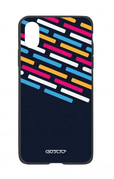 Cover Bicomponente Apple iPhone XS MAX - Righe su fondo Blu