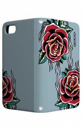 Cover STAND Apple iphone 6/6s - Rose Tattoo su azzurro