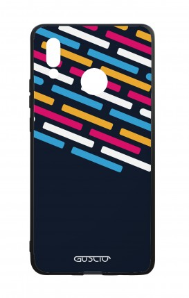 Huawei P20Lite WHT Two-Component Cover - Stripes on Dark Blue