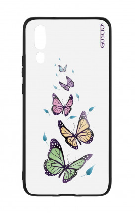 Huawei P20 WHT Two-Component Cover - WHT Butterflies&Leaves