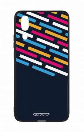 Huawei P20 WHT Two-Component Cover - Stripes on Dark Blue