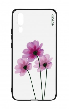 Huawei P20 WHT Two-Component Cover - Flowers on white