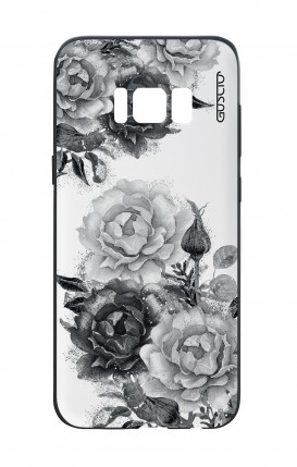 Samsung S8 White Two-Component Cover - Black and White Bouquet