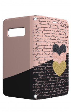 Cover STAND Samsung S10 Plus - Scritte e Cuori rosa nero