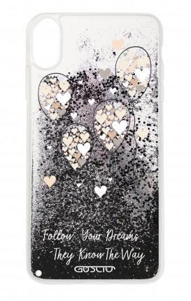 Cover GLITTER Liquid Apple iphone XS MAX BLK - Balloons & Hearts