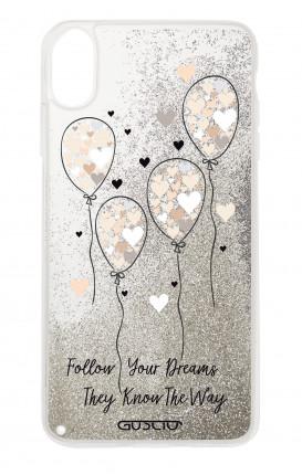 Cover GLITTER Liquid Apple iphone XS MAX SLV - Balloons & Hearts