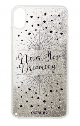 Cover GLITTER Liquid Apple iPhone XS MAX SILVER - Never Stop Dreaming