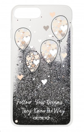 Cover GLITTER Liquid Apple iPhone 6 / 6s / 7/8 BLACK - Balloons & Hearts