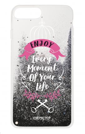 Cover GLITTER Liquid Apple iPhone 6/6s/7/8 Plus BLACK - Enjoy Every Moment...