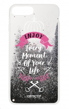 Cover GLITTER Liquid Apple iphone 7/8Plus BLK - Enjoy Every Moment...