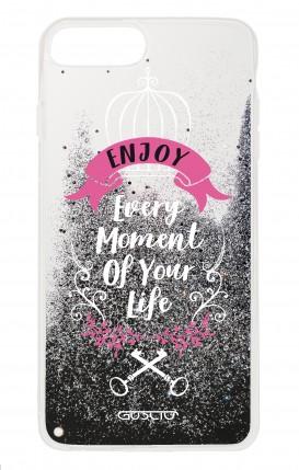 Cover GLITTER Liquid Apple iphone 7/8Plus BLK - Enjoy Every Moment...