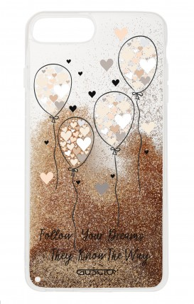 Cover GLITTER Liquid Apple iPhone 6/6s/7/8 Plus GOLD - Palloncini cuori