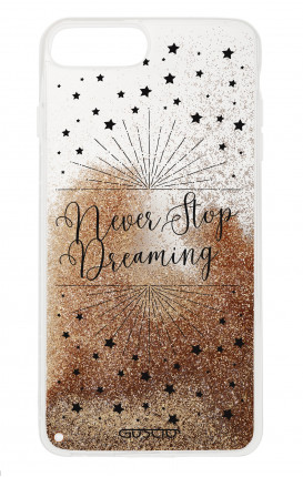 Cover GLITTER Liquid Apple iPhone 6/6s/7/8 Plus GOLD - Never Stop Dreaming
