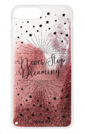 Cover GLITTER Liquid Apple iPhone 6/6s/7/8 Plus PINK - Never Stop Dreaming