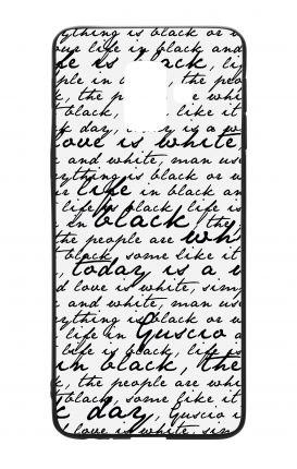Cover Bicomponente Samsung A6 Plus WHT - Scritte in bianco e nero