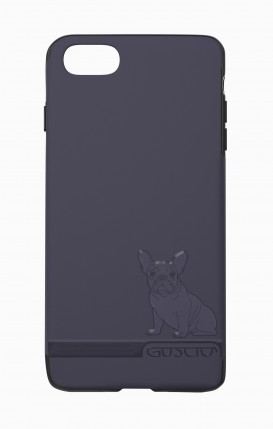 Cover Skin Feeling Apple iphone 7/8 BLU - Bulldog francese su logo