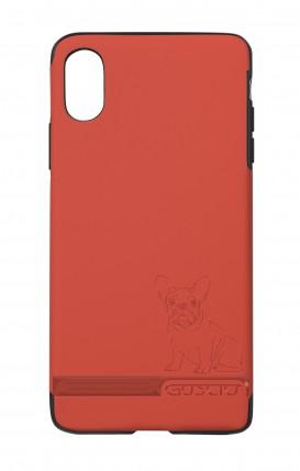 Cover Skin Feeling Apple iphone X/XS RED - Bulldog francese su logo