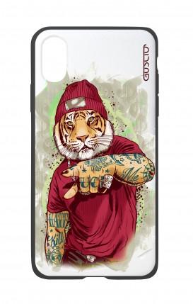 Cover Bicomponente Apple iPhone XS MAX - Tigre Hip Hop bianco