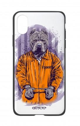 Cover Bicomponente Apple iPhone XS MAX - Cane carcerato bianco
