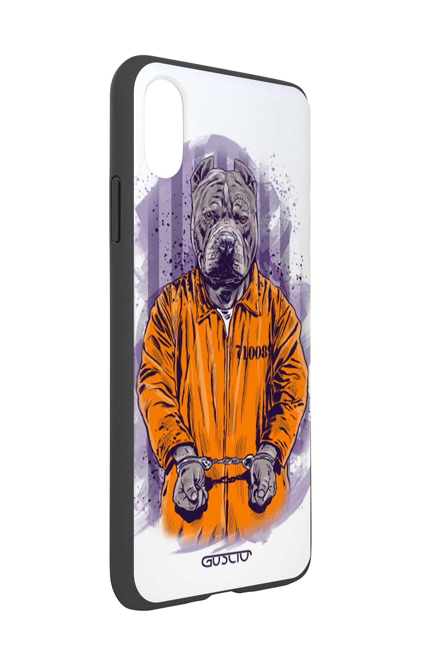 Cover Bicomponente Apple Iphone Xs Max Cane Carcerato Bianco