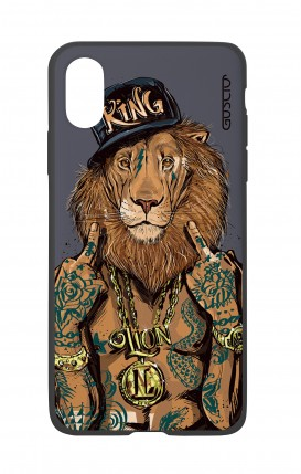 Cover Bicomponente Apple iPhone XS MAX - Lion King grigio