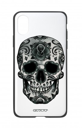 Apple iPh XS MAX WHT Two-Component Cover - WHT DarkCalaveraSkull