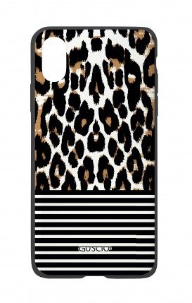 Apple iPh XS MAX WHT Two-Component Cover - Animalier & Stripes