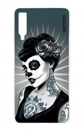Cover TPU Samsung A7 2018 - Calavera bianco e nero