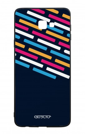 Samsung J4 Plus WHT Two-Component Cover - Stripes on Dark Blue